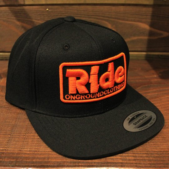 ONGROUNDCLOTHING 【Ride】3D Stitch Logo Standard Snapback ブラック/オレンジ(特別カラー)<img class='new_mark_img2' src='//img.shop-pro.jp/img/new/icons5.gif' style='border:none;display:inline;margin:0px;padding:0px;width:auto;' />