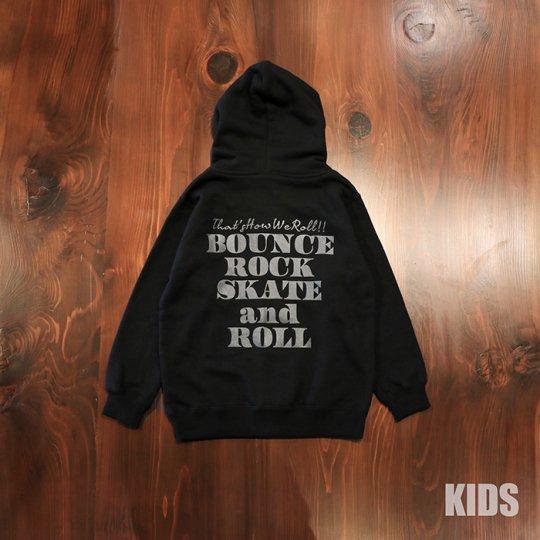 【BOUNCE ROCK SKATE and ROLL / バウンス ロック スケート アンド ロール】キッズ ジップフード(レギュラー)ブラック