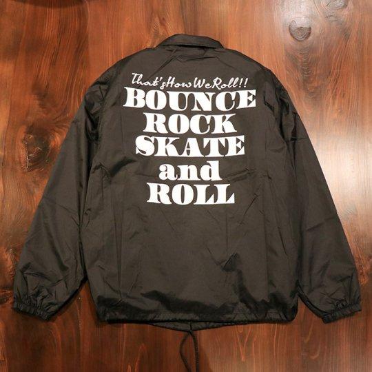 【BOUNCE ROCK SKATE and ROLL / バウンス ロック スケート アンド ロール】ナイロンコーチジャケット(裏ボア)ブラック