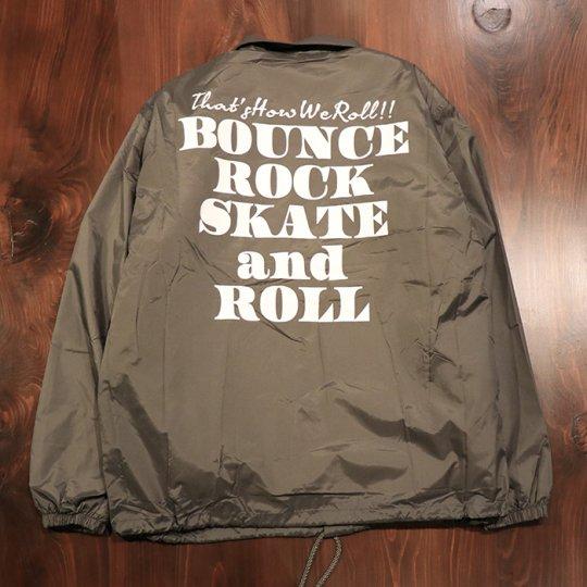 【BOUNCE ROCK SKATE and ROLL / バウンス ロック スケート アンド ロール】ナイロンコーチジャケット(裏ボア)グレー