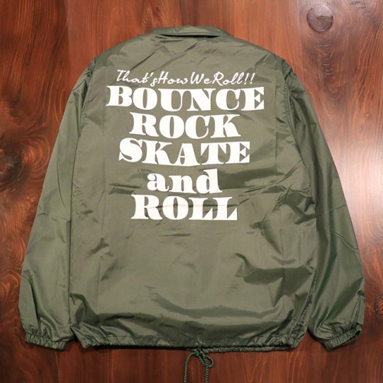 【BOUNCE ROCK SKATE and ROLL / バウンス ロック スケート アンド ロール】ナイロンコーチジャケット(裏ボア)グリーン