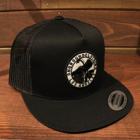 ONGROUNDCLOTHING【GROUNDED】Trucker Snap Back RG (Black/Black)ブラック/ブラック