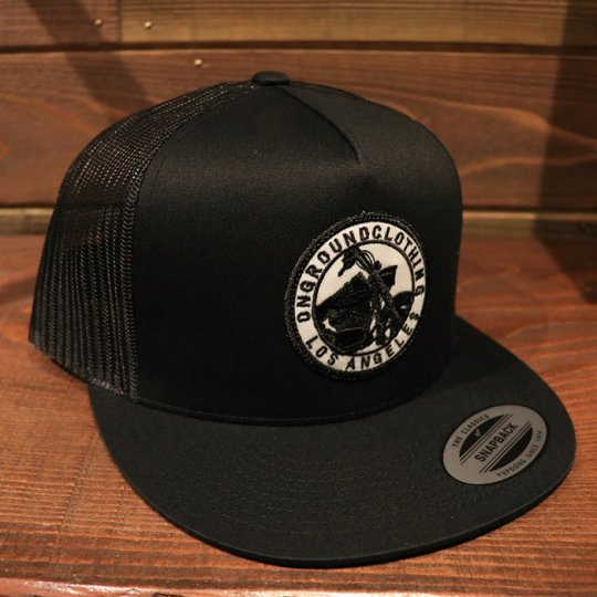 ONGROUNDCLOTHING【GROUNDED】Trucker Snap Back RK (Black/Black)ブラック/ブラック