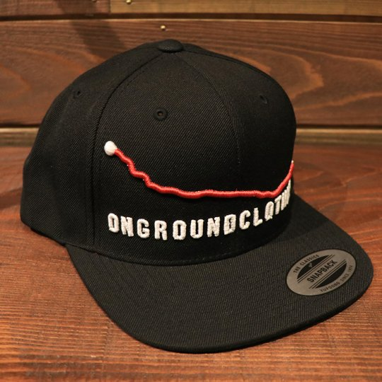 ONGROUNDCLOTHING【Mileage】GPS 3-D Stitch Standard Snap Back (Black)ブラック