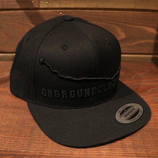 ONGROUNDCLOTHING【Mileage】GPS 3-D Stitch Standard Snap Back (BLACK OUT)ブラックアウト