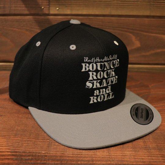 【BOUNCE ROCK SKATE and ROLL / バウンス ロック スケート アンド ロール】 Snap Back スナップバック キャップ ブラック/グレー