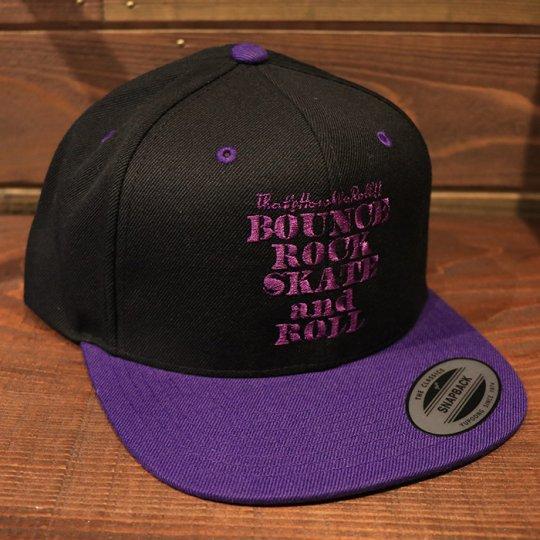 【BOUNCE ROCK SKATE and ROLL / バウンス ロック スケート アンド ロール】 Snap Back スナップバック キャップ ブラック/パープル