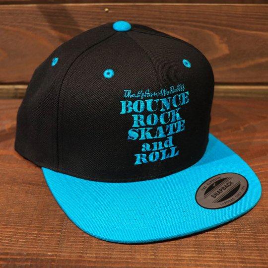 【BOUNCE ROCK SKATE and ROLL / バウンス ロック スケート アンド ロール】 Snap Back スナップバック キャップ ブラック/ブルー