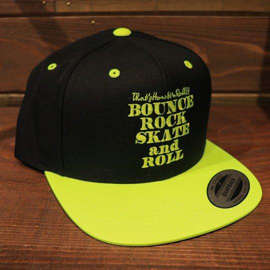【BOUNCE ROCK SKATE and ROLL / バウンス ロック スケート アンド ロール】 Snap Back スナップバック キャップ ブラック/イエロー(蛍光イエロー)