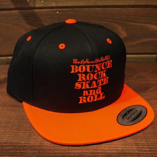 【BOUNCE ROCK SKATE and ROLL / バウンス ロック スケート アンド ロール】 Snap Back スナップバック キャップ ブラック/オレンジ