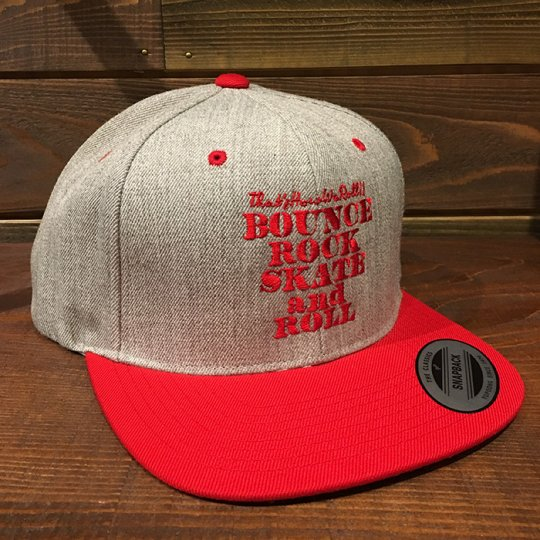 【BOUNCE ROCK SKATE and ROLL / バウンス ロック スケート アンド ロール】 Snap Back スナップバック キャップ グレー/レッド<img class='new_mark_img2' src='//img.shop-pro.jp/img/new/icons58.gif' style='border:none;display:inline;margin:0px;padding:0px;width:auto;' />