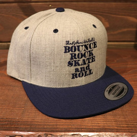 【BOUNCE ROCK SKATE and ROLL / バウンス ロック スケート アンド ロール】 Snap Back スナップバック キャップ グレー/ネイビー<img class='new_mark_img2' src='//img.shop-pro.jp/img/new/icons58.gif' style='border:none;display:inline;margin:0px;padding:0px;width:auto;' />