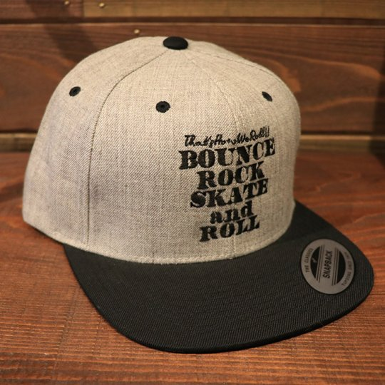 【BOUNCE ROCK SKATE and ROLL / バウンス ロック スケート アンド ロール】 Snap Back スナップバック キャップ グレー/ブラック<img class='new_mark_img2' src='//img.shop-pro.jp/img/new/icons58.gif' style='border:none;display:inline;margin:0px;padding:0px;width:auto;' />