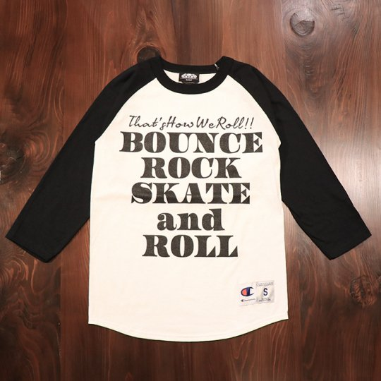 【BOUNCE ROCK SKATE and ROLL / バウンス ロック スケート アンド ロール】×Champion チャンピオン 七分袖 ラグラン ブラック<img class='new_mark_img2' src='//img.shop-pro.jp/img/new/icons5.gif' style='border:none;display:inline;margin:0px;padding:0px;width:auto;' />