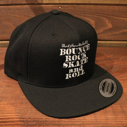 【BOUNCE ROCK SKATE and ROLL / バウンス ロック スケート アンド ロール】 Snap Back スナップバック キャップ ブラック/ライトグレー<img class='new_mark_img2' src='//img.shop-pro.jp/img/new/icons5.gif' style='border:none;display:inline;margin:0px;padding:0px;width:auto;' />