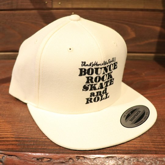 【BOUNCE ROCK SKATE and ROLL / バウンス ロック スケート アンド ロール】 Snap Back スナップバック キャップ ナチュラル/ブラック<img class='new_mark_img2' src='//img.shop-pro.jp/img/new/icons5.gif' style='border:none;display:inline;margin:0px;padding:0px;width:auto;' />