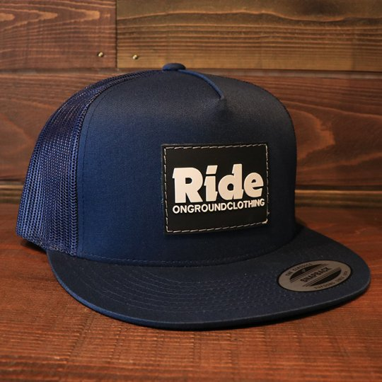 ONGROUNDCLOTHING【Ride】Rubber Mount Trucker Snap Back ネイビー