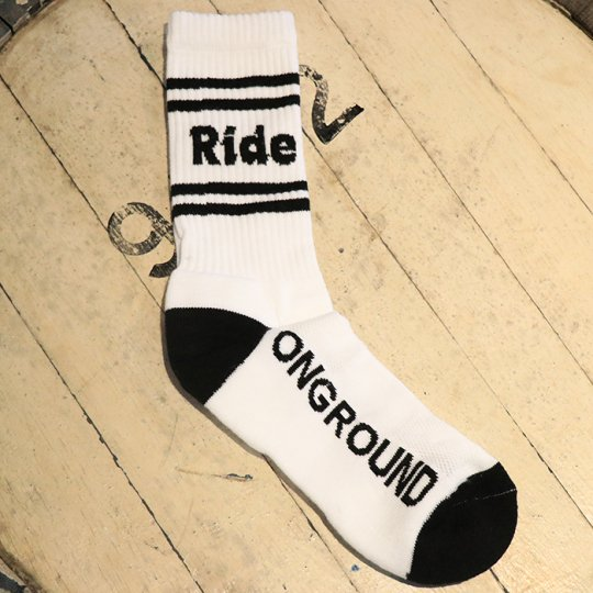 ONGROUNDCLOTHING【Ride】Logo Cushion Crew Socks (stripes) ソックス ブラックライン