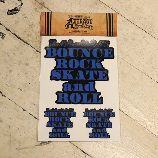 BOUNCE ROCK SKATE and ROLL ステッカーセット  Black base / ブルー