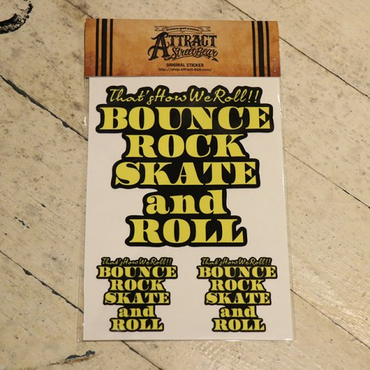 BOUNCE ROCK SKATE and ROLL ステッカーセット  Black base / イエロー