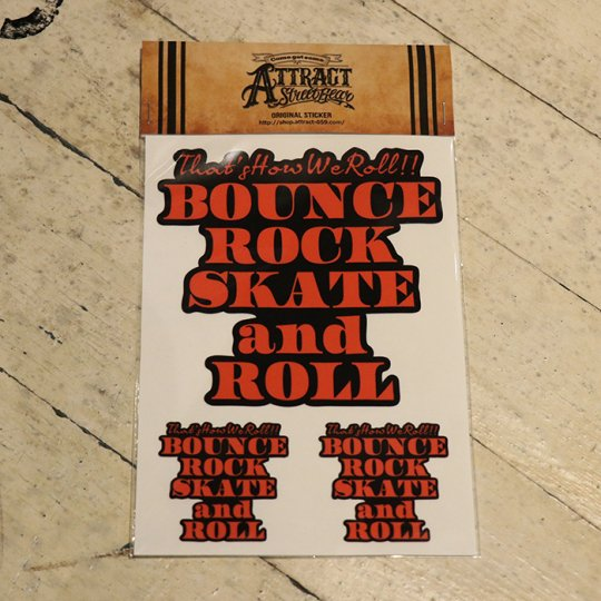 BOUNCE ROCK SKATE and ROLL ステッカーセット  Black base / オレンジ
