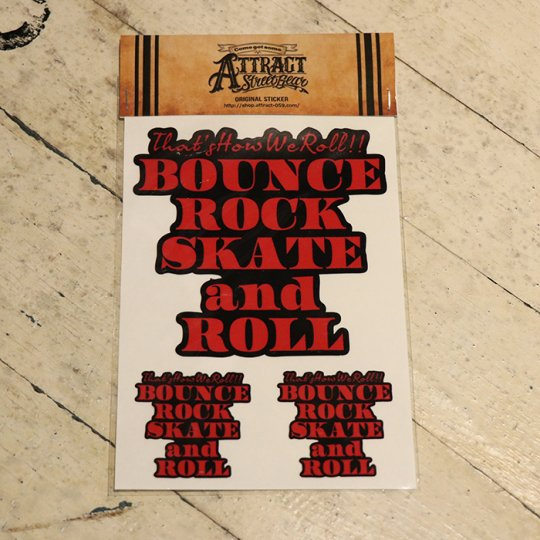 BOUNCE ROCK SKATE and ROLL ステッカーセット  Black base / レッド