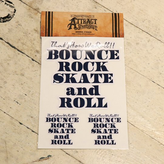 BOUNCE ROCK SKATE and ROLL ステッカーセット  White base / ネイビー