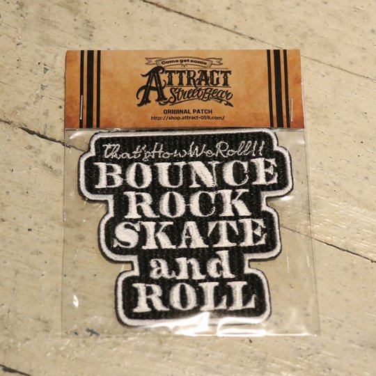 BOUNCE ROCK SKATE and ROLL パッチ ブラックベース