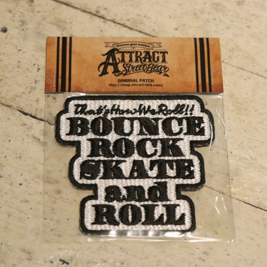 BOUNCE ROCK SKATE and ROLL パッチ ホワイトベース Small<img class='new_mark_img2' src='https://img.shop-pro.jp/img/new/icons58.gif' style='border:none;display:inline;margin:0px;padding:0px;width:auto;' />