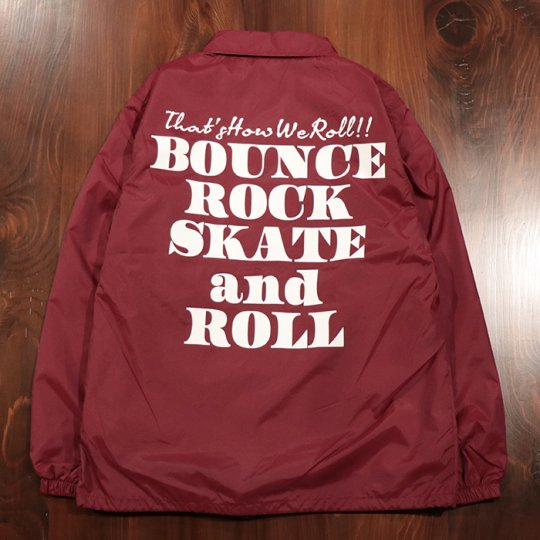 【BOUNCE ROCK SKATE and ROLL / バウンス ロック スケート アンド ロール】ナイロンコーチジャケット マルーン<img class='new_mark_img2' src='//img.shop-pro.jp/img/new/icons5.gif' style='border:none;display:inline;margin:0px;padding:0px;width:auto;' />