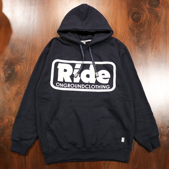 ONGROUNDCLOTHING【Ride】 Logo Hoodie (Navy/Wht) - フーディー パーカー ネイビー/ホワイト<img class='new_mark_img2' src='//img.shop-pro.jp/img/new/icons58.gif' style='border:none;display:inline;margin:0px;padding:0px;width:auto;' />