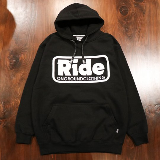 ONGROUNDCLOTHING【Ride】 Logo Hoodie (Blk/Wht) - フーディー パーカー ブラック/ホワイト<img class='new_mark_img2' src='//img.shop-pro.jp/img/new/icons58.gif' style='border:none;display:inline;margin:0px;padding:0px;width:auto;' />