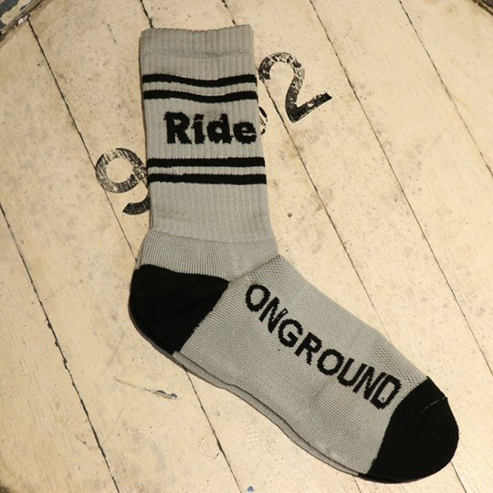 ONGROUNDCLOTHING【Ride】Logo Cushion Crew Socks Grey (stripes) ソックス グレー/ブラックライン