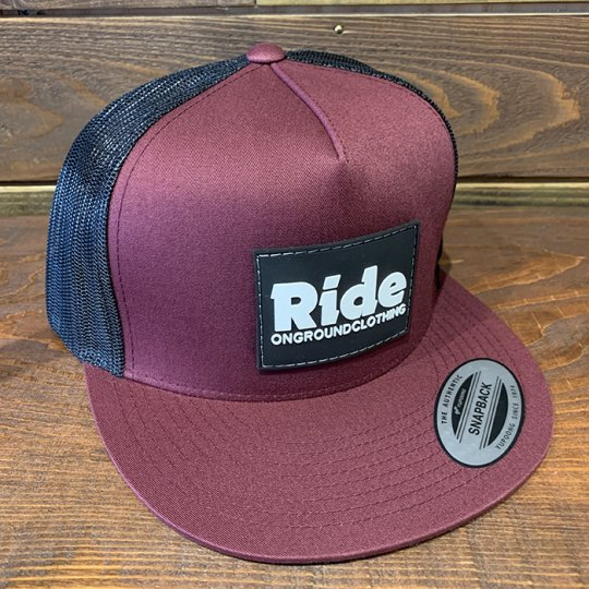 ONGROUNDCLOTHING【Ride】Rubber Mount Trucker Snap Back マルーン/ブラック