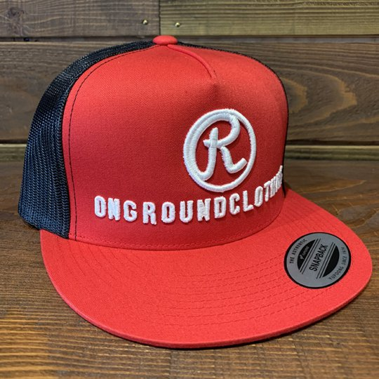 ONGROUNDCLOTHING【The R 3D Stitch】 Trucker Snap Back レッド