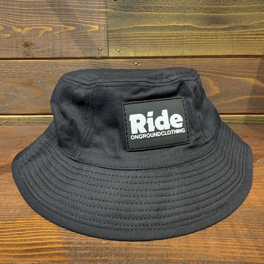 ONGROUNDCLOTHING【Ride】Logo Rubber Mount Big Bucket Hat バケットハット ブラック