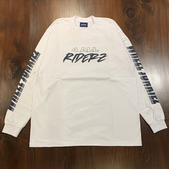 Attract Street Gear【WHEEL JUNKIEZ】 Long Sleeves Tee ロンT ホワイト/ネイビーprint
