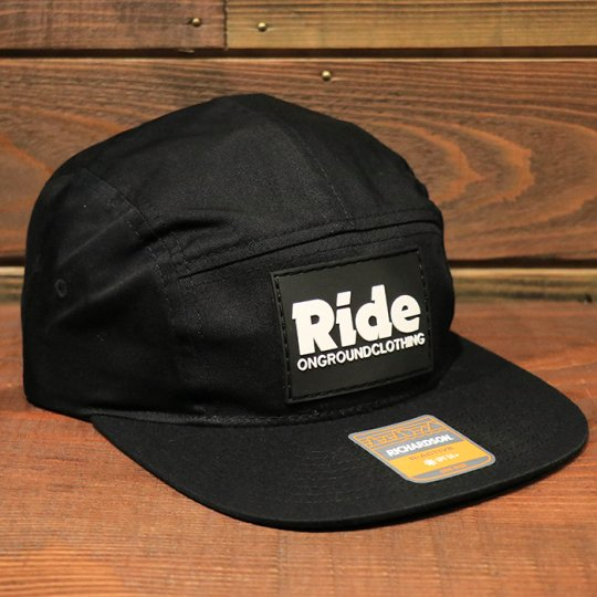 ONGROUNDCLOTHING【Ride】RubberMount Jockey Snap Strap Cap ジョッキーキャップ ブラック<img class='new_mark_img2' src='//img.shop-pro.jp/img/new/icons5.gif' style='border:none;display:inline;margin:0px;padding:0px;width:auto;' />