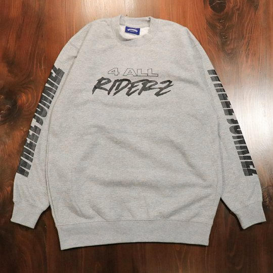 Attract Street Gear【WHEEL JUNKIEZ】 Comfort crew neck sweatshirt トレーナー グレー/ブラックprint