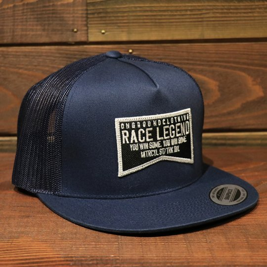 ONGROUNDCLOTHING【Race Legend】 Trucker Snapback メッシュキャップ ネイビー