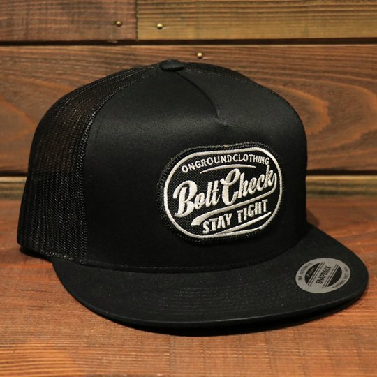 ONGROUNDCLOTHING【Bolt Check】 Trucker Snapback メッシュキャップ ブラック
