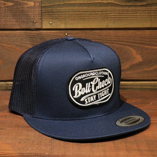 ONGROUNDCLOTHING【Bolt Check】 Trucker Snapback メッシュキャップ ネイビー