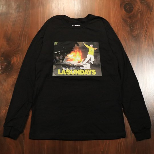 LASundays Police Fire  L/S ロンT ブラック