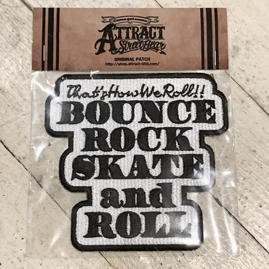 BOUNCE ROCK SKATE and ROLL パッチ ホワイトベース Large<img class='new_mark_img2' src='https://img.shop-pro.jp/img/new/icons5.gif' style='border:none;display:inline;margin:0px;padding:0px;width:auto;' />