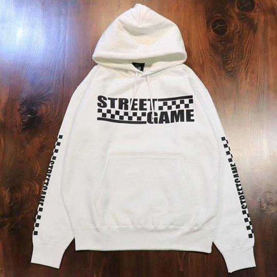 STREETGAME 【CHECKER】 HOODIE (裏起毛) ホワイト