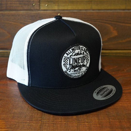 ONGROUNDCLOTHING【Line Up】 Trucker Snapback メッシュキャップ ブラック/ホワイト