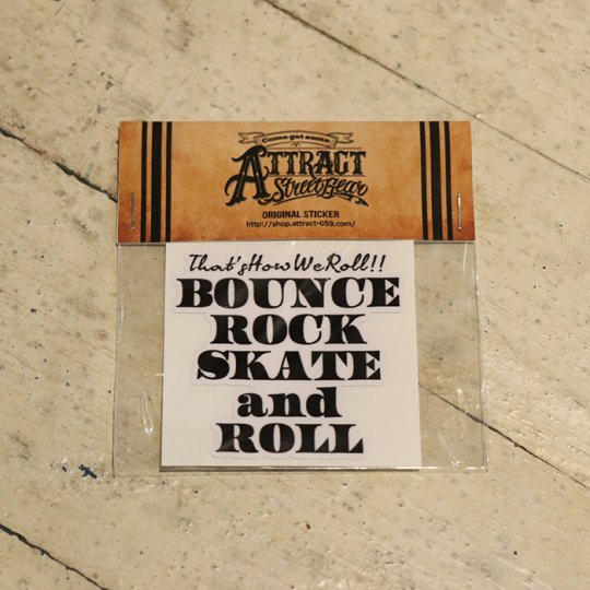 BOUNCE ROCK SKATE and ROLL ステッカー White base Small