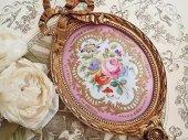 甘美 パリ窯セーブルスタイル・リボンと薔薇の陶板フレーム(A)