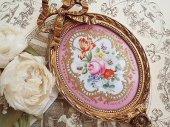 甘美 パリ窯セーブルスタイル・リボンと薔薇の陶板フレーム(B)