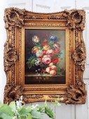 華麗 ヴィクトリアン薔薇の油彩画